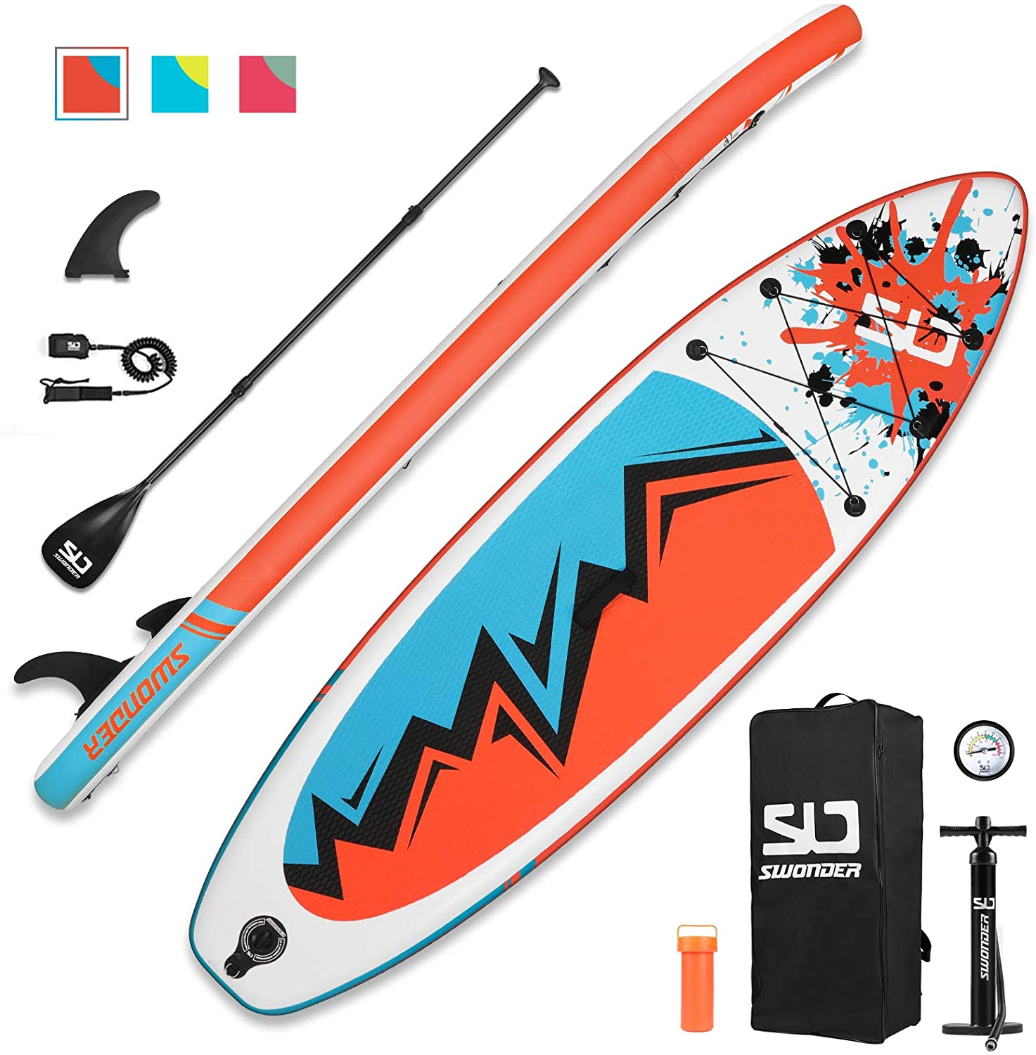 """Swonder Inflatable Stand Up Paddle Board, 32"""" Wide Ultra Steady and Super Light-Weight (7.8kg) Board"""