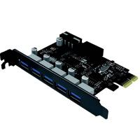 Cruxtec 5 Port USB 3.0 PCIe Expansion Card