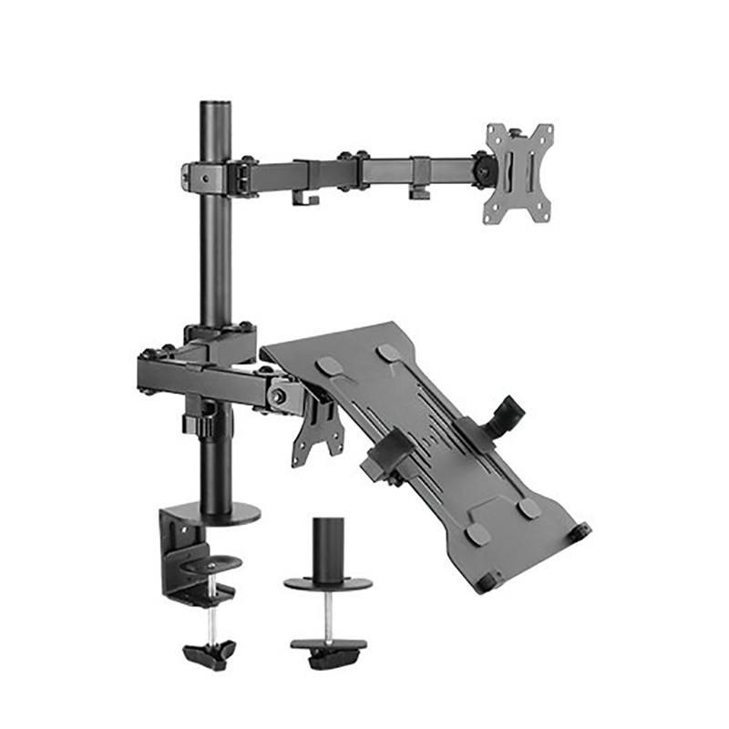 Brateck Double Joint Articulating Steel Monitor Arm with Laptop Holder