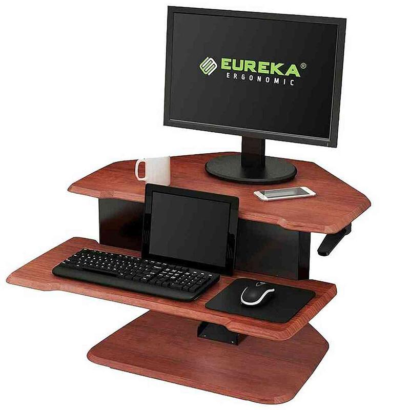 Eureka Ergonomic Height Adjustable Gaming Sit Stand Desk 28in - Cherry