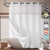 Lagute SnapHook Hook Free Shower Curtain with Snap-in Liner & See Through Top Window