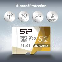 Silicon Power Superior PRO 4K/HD 512GB Micro SDXC Card 100MB/s Read & 80MB/s Write U3, C10, A1, V30 with Adapter