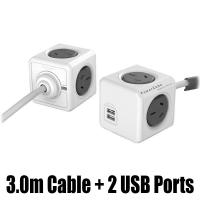 Allocacoc PowerCube Extended USB 4 Outlets 2 USB 3M - Grey