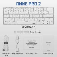 ANNE PRO 2 60% Bluetooth Mechanical Keyboard, Gateron Brown Switch, White Case
