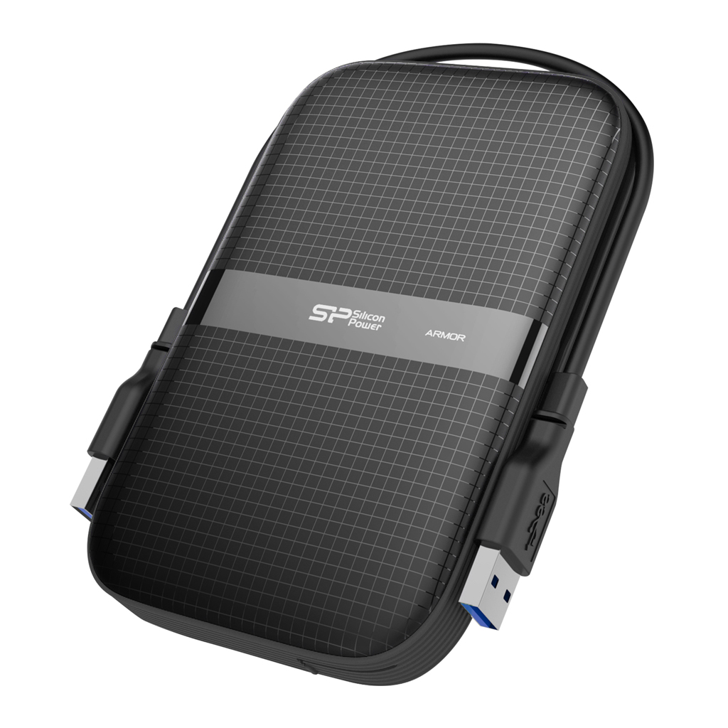 Silicon Power 2TB A60 Rugged Shockproof & Water resistant Portable External Hard Drive USB 3.0 For PC,MAC,XBOX,PS4,PS5 - Black