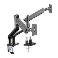Brateck 17-32 inch Dual Monitor Premium Aluminium Spring Assisted Monitor Arm - Black