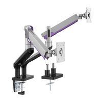 Brateck 17-32 inch Dual Monitor Premium Aluminium Spring Assisted Monitor Arm - Silver