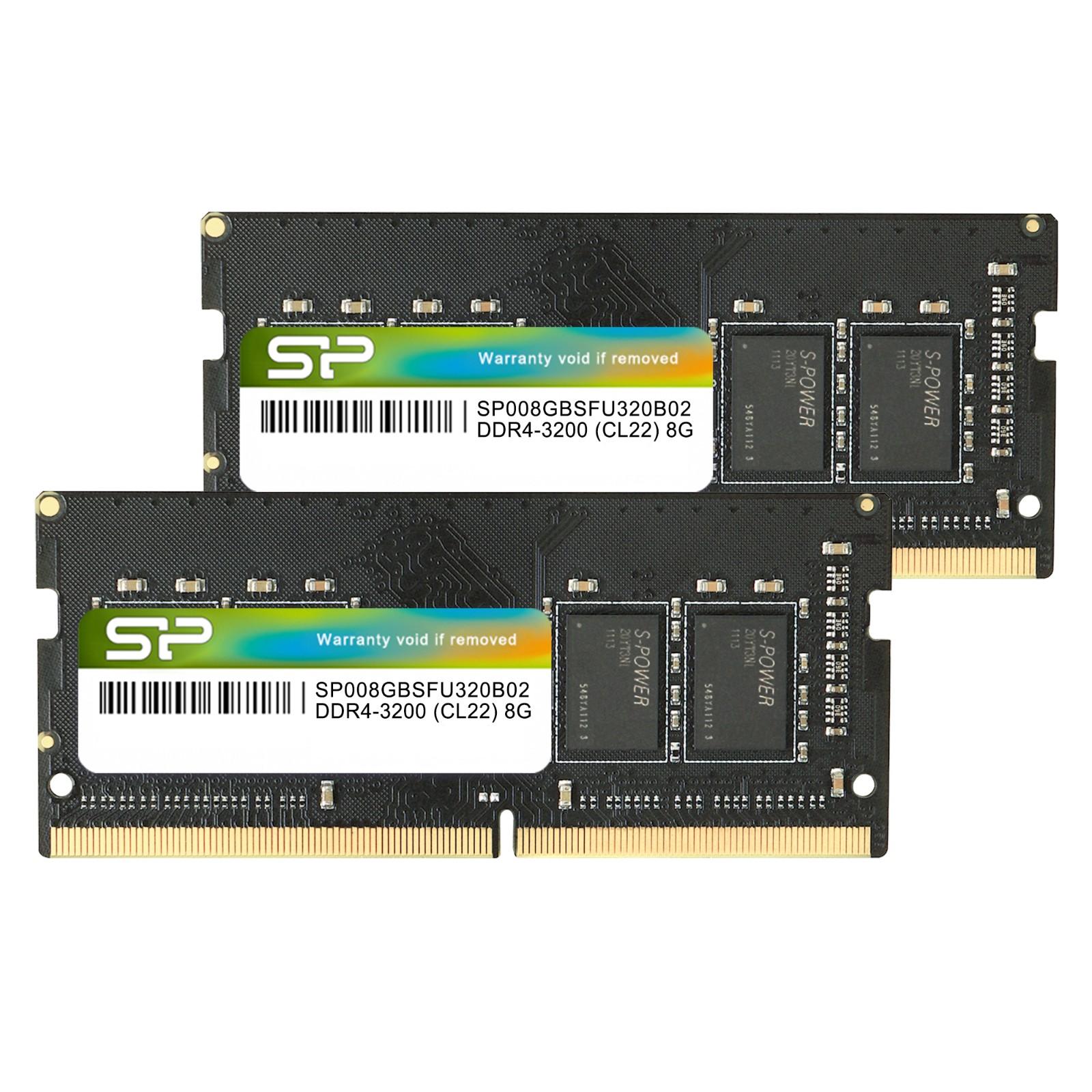 Silicon Power 16GB (2x8GB) SP016GBSFU320X22 3200Mhz CL22 DDR4 SODIMM Laptop RAM