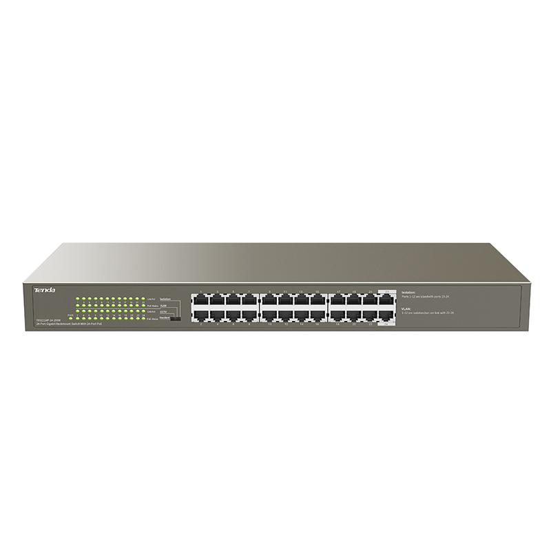 Tenda 24 Port Gigabit Unmanaged PoE+ Switch (TEG1124P-24-250W)