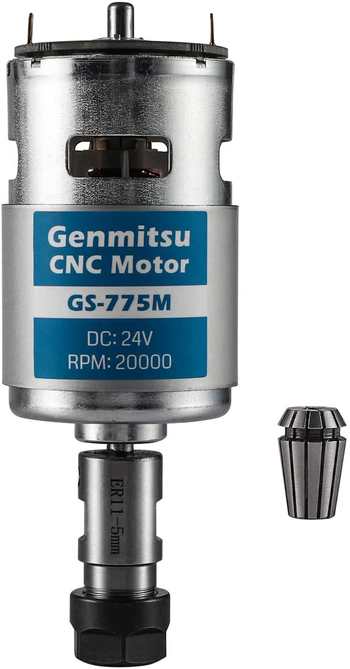 Genmitsu GS-775M 20000RPM 775 CNC Spindle Motor with 5mm ER11 Collet Set, CNC 3018 Upgraded Accessories, DC 24V, High Power, Noise Suppression
