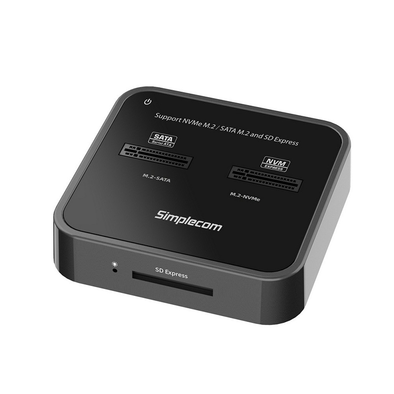Simplecom SD530 USB 3.2 to NVMe and SATA M.2 SSD Dual Bay with SD Express Card Reader Docking Station