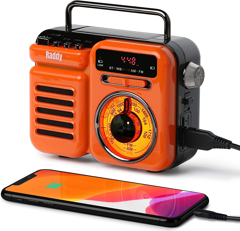 Raddy RW3 Emergency Hand Crank Radio Retro AM/FM/NOAA Radio, Solar Powered Battery Operated with Phone Charger