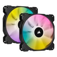 Corsair iCUE SP140 140mm RGB Elite Black PWM Fan - Dual Fan Kit with Lighting Node CORE