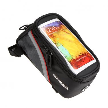 """Roswheel Bike Bicycle Frame Front Tube Bag Transparent PVC with Audio Extension Line for 5.5"""" Cellphone Red"""