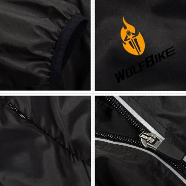WOLFBIKE Cycling Jersey Men Riding Breathable Jacket Cycle Clothing Bike Long Sleeve Wind Coat Black XXL
