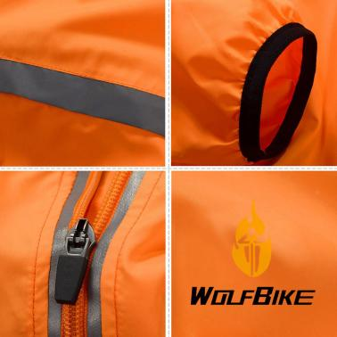 WOLFBIKE Cycling Jersey Men Riding Breathable Jacket Cycle Clothing Bike Long Sleeve Wind Coat Orange L