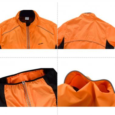 WOLFBIKE Cycling Jersey Men Riding Breathable Jacket Cycle Clothing Bike Long Sleeve Wind Coat Orange M