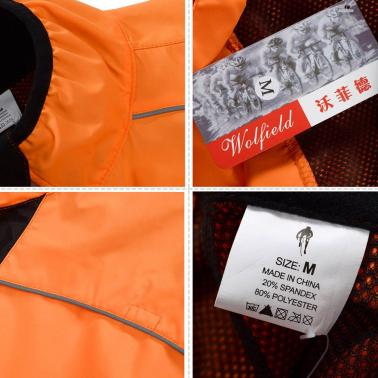 WOLFBIKE Cycling Jersey Men Riding Breathable Jacket Cycle Clothing Bike Long Sleeve Wind Coat Orange XXL