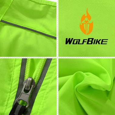 WOLFBIKE Cycling Jersey Men Riding Breathable Jacket Cycle Clothing Bike Long Sleeve Wind Coat Green L