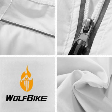 WOLFBIKE Cycling Jersey Men Riding Breathable Jacket Cycle Clothing Bike Long Sleeve Wind Coat White XL