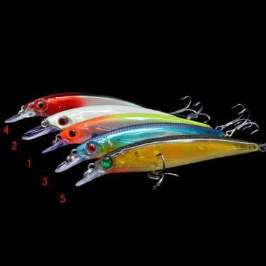 14g 11cm Plastic 3D Eyes Minnow Fishing Hard Lure CrankBait Tackle Treble Hook Diving 2m