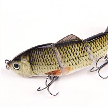 "120mm 17g 4.72"" 4 Segments Multi-Jointed Hard Fishing Lure Life-like Swimbait Crank Bait 2 Treble VMC Hooks"