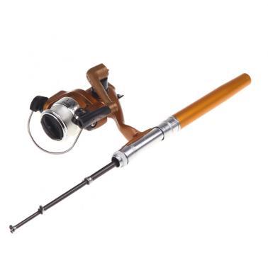 Mini Aluminum Pocket Pen Fishing Rod Pole + Reel Golden