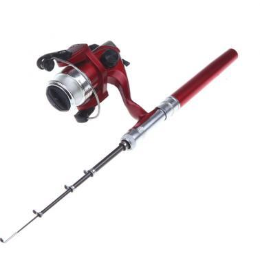 Mini Aluminum Pocket Pen Fishing Rod Pole + Reel Red