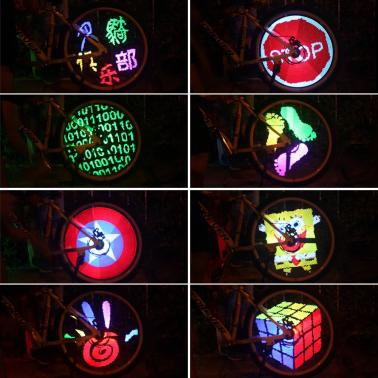 128 RGB LEDs Water Resistant Anti-shock Spoke Light Color Changing Programmable Bike Bicycle Wheel Light