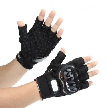 Men Motorcycle Bike Bicycle Half Finger Anti Slip 3D Hard Shell Protective Cycling Riding Racing Gloves