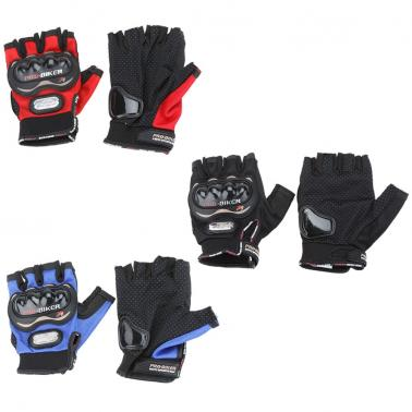 Men Motorcycle Bike Bicycle Half Finger Anti Slip 3D Hard Shell Protective Cycling Riding Racing Gloves