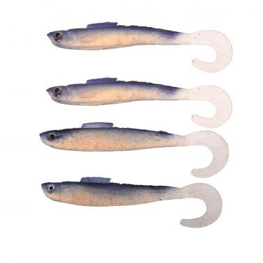 4Pcs 12.5cm 9g Curl Tail Baits Translucent Soft Baits Fishing Lures