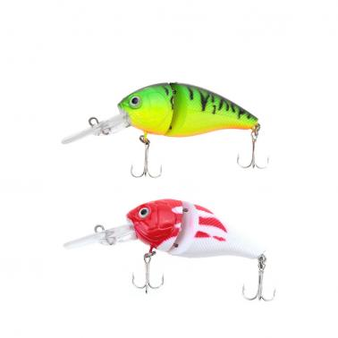 14g 8.5cm 2 Jointed Fishing Life-like Hard Lure Chubby Fatty Crank Bait Tackle with Treble Hooks
