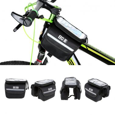 Outdoor Cycling Phone Touch Screen Pouch Pannier Bicycle Front Tube Bag Double Size
