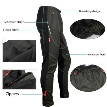 SANTIC Outdoor Cycling Warm Polyster Fleeces Thermal Wind Pants for Men