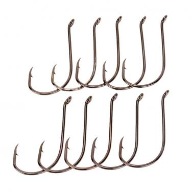 10pcs Carbon Steel Fishing Hooks Sea Fishing Hooks Fishing Tackle