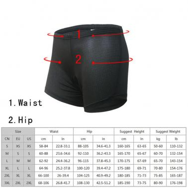 Arsuxeo Cycling Riding Underwear Shorts Pants Breathable Comfortable Padded Briefs Unisex