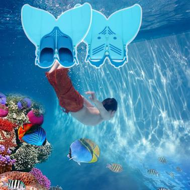 Teen Teenager Mermaid Swim Fin Diving Monofin Swimming Foot Flipper