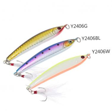 8.5cm 14g Sinking Pencil Lure Hard Bait Artificial Fishing Lure with Treble Hook Feather