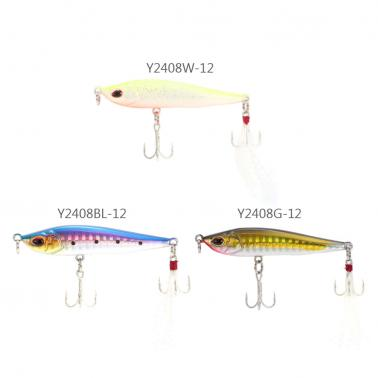 Sinking Pencil Lure Hard Bait Artificial Fishing Lure with 2 Treble Hooks Feather