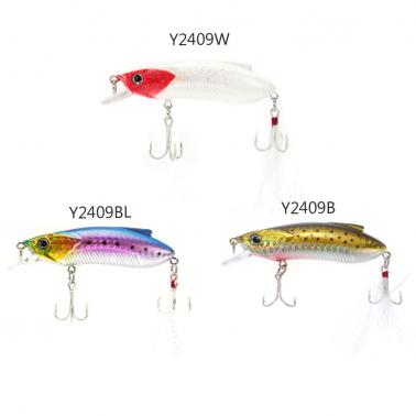8cm 15g Minow Fishing Lure Hard Bait with Treble Hooks Large Tongue Plate Feather