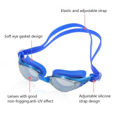 Adjustable Unisex Adult Electroplate Non Fogging Anti-UV Swimming Goggles Swim Glasses