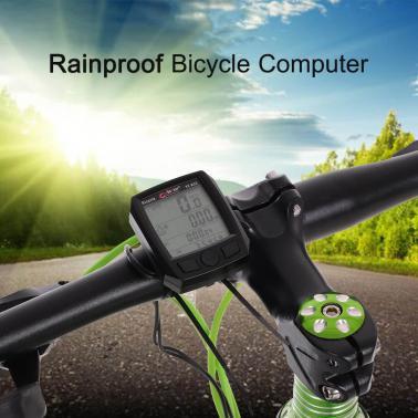BoGeer Bike Motorbike Cycling Computer Sensors Rainproof LCD Backlit Bicycle Speedometer Odometer Calendar Stopwatch Rai
