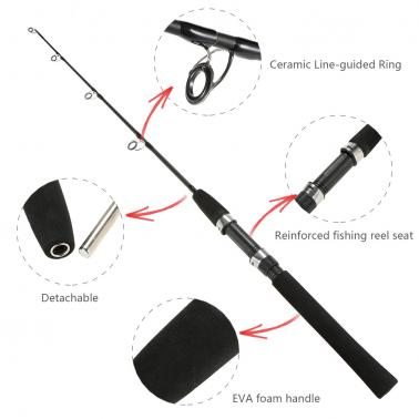 1m/0.8m 2 Sections Solid Fishing Rod Ice Fishing Rod Boat Rod Pole Fishing Tackle Fishing Accessory