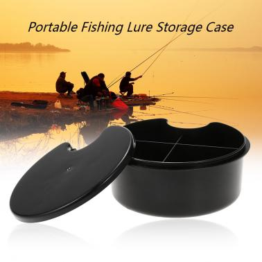 "6"" Waterproof 4 Compartments Portable Fishing Lure Bait Tackle Storage Case Box Fishing Tackle Accessories Black"