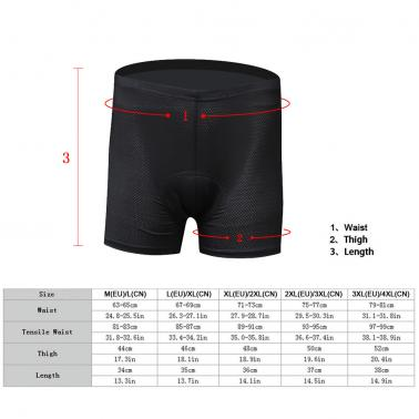 Unisex High-waisted Men / Women Bicycle Cycling Underwear Gel 3D Padded Bike Short Pants