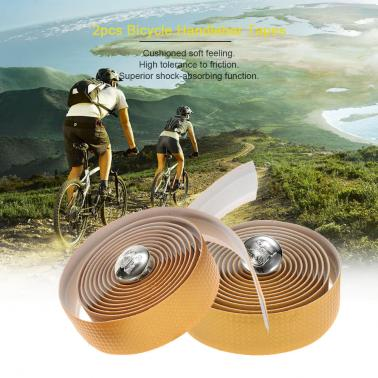2pcs Bike Bicycle Anti-slip Handlebar Tapes Wraps with Two Bar Plugs
