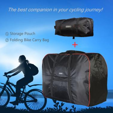 "Cycling 14""-20"" Folding Bicycle Bike Carrier Carry Bag MTB Road Bike Transport Storage Bag Travel Bag + Pouch"