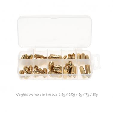 50pcs 1.8/3.5/5/7/10g Weight Assorted Copper Sinker Kit Fishing Tackle Sinkers in A Box Case