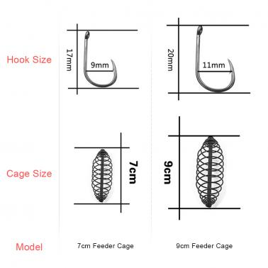 Fishing Bait Lure Cage with 3 Line Hooks Carp Feeder Fishing Tackle Accessories 7cm/9cm